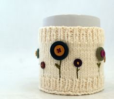 Knit and Embroidered Mug Cozy • not gonna lie, I would wear this on my wrist. -Jes