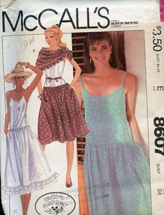 Laura Ashley sundress and scarf McCalls pattern 8607 UNCUT. Pattern is uncut. Vintage Sewing Patterns, Clothing Patterns, Dress Patterns, Fashion Patterns, Laura Ashley Patterns, Laura Ashley Fashion, Ashley Clothes, Triangle Scarf, Top Pattern