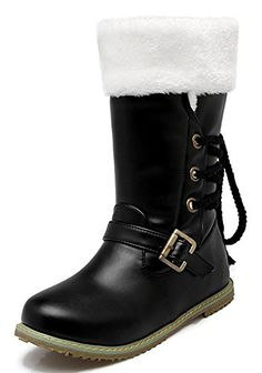 IDIFU Womens Warm Lace Up Buckled Fur Lined Flat Snow Boots Mid Calf Winter Booties Black 13 BM US -- This is an Amazon Affiliate link. See this great product.