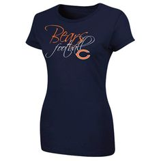 Majestic Chicago Bears Ladies Franchise Fit II T-Shirt - Navy Blue #Fanatics