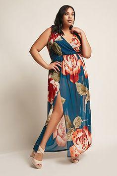 e141c2af8ec3 Plus Size Floral Maxi Skort Romper Floral Jumpsuit