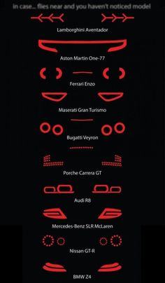 Supercars at night! Infographic