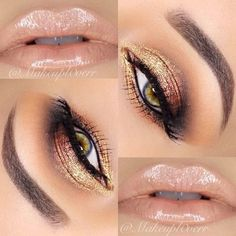Light peach nude lip with golden eyes, simple brown brow tint complimenting accents of the eye