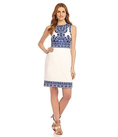 Katherine Kelly Embroidered Bodice Crepe Dress #Dillards