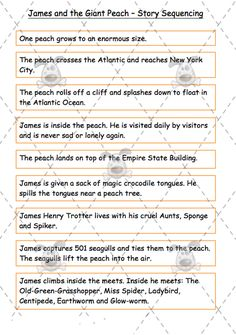 Worksheets James And The Giant Peach Worksheets roald dahl characters the giant peach and classroom activities on teachers pet james story sequence middle premium printable