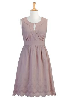 Beautiful pastel mauve Eyelet dress avail in full range of sizes... customizable to height! Very lovely bodice...