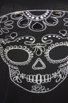 Almost Famous Shirt Skull Day Of The Dead Black Eyelet Sexy Knot Cut Out Back S #AlmostFamous #KnitTop