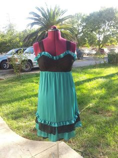 Teal and black handmade silky ruffle by PoolsofLaughter on Etsy, $95.00