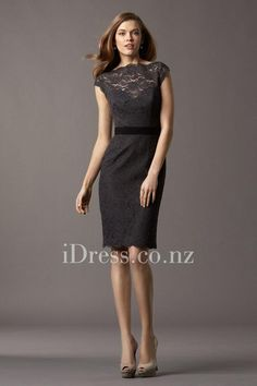 little black lace cap sleeve bridesmaid dress with boat neck from idress.co.nz