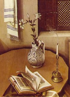 Towel, pitcher, candle & book. Detail from the Mérode Altarpiece, c. 1427-32, by Robert Campin. Cloisters, New York