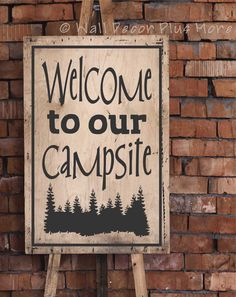 Welcome to our Campsite Vinyl Decal for the Camper - Decorate your summer home!