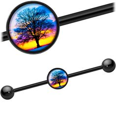 Product Details Branch out into a new style with this sunset tree industrial barbell. Made with a black anodized titanium over surgical grade stainless steel straight barbell, this helix jewelry Industrial Earrings, Industrial Piercing Jewelry, Helix Jewelry, Ear Jewelry, Industrial Barbell, Industrial Bars, Jewlery, Unique Jewelry, Piercing Tattoo