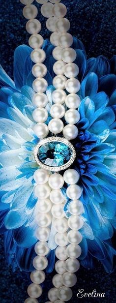 Love Blue, Blue And White, Dark Blue, Pearl Jewelry, Pearl Necklace, Glamour, Girls Wear, Luxury Jewelry, Shades Of Blue