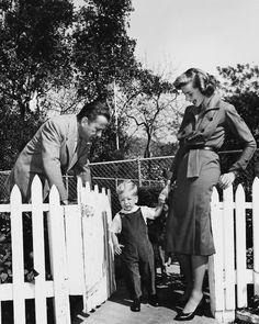 Humphrey Bogart, Lauren Bacall and their son, Stephen.