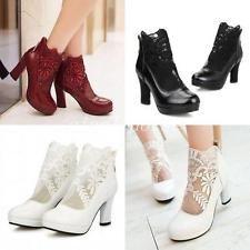 Vogue Women's High Heels Mesh Hollow Ankle Boots Wedding Platform Shoes Plus Sz