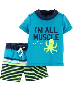 Octopus Rashguard Set - Baby Boy Names Baby Girl Names Baby Boy Clothes Hipster, Trendy Baby Clothes, Organic Baby Clothes, Man Clothes, Trendy Dresses, Toddler Outfits, Baby Boy Outfits, Kids Outfits, Newborn Outfits