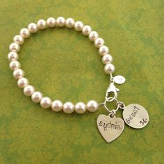 Sweet 16 Swarovski Pearl Bracelet with Name/ Sweet 16 by MayaBelle, $43.00