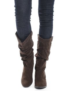Shop ModDeals.com for Brown Suede Rodeo Babe Faux Leather Scrunch Western Boots in our cheap trendy Shoes category. Find trendy cheap clothing for women, discount shoes, jewelry sales, perfume & cheap