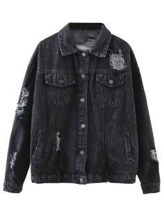 Graphic Distressed Denim Jacket - Black
