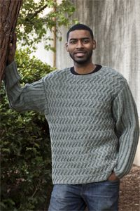 Mens Waves of Ribs Sweater free pattern download: Cascade Yarns