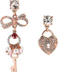 MISMATCH LOCK KEY EARRING PINK accessories jewelry earrings fashion