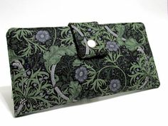 Women wallet  grey and green floral classic look  handmade