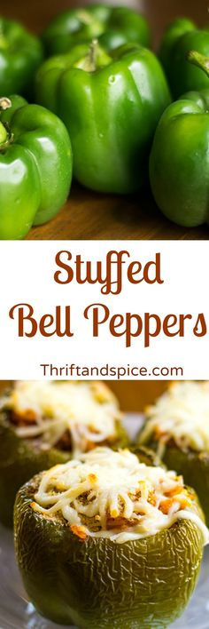 Delicious stuffed bell peppers topped with Italian bread crumbs and mozzarella cheese.