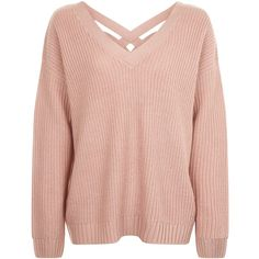 New Look Mid Pink Cross Strap Back Jumper (£18) ❤ liked on Polyvore featuring tops, sweaters, mid pink, v neck sweater, jumper top, long sleeve v neck top, v-neck sweater and long sleeve jumper