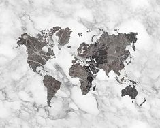 Modern world map black marble map of the world world map