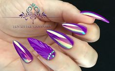 Luminaura Aurora by Social Claws pigment over neon purple with a shell nail design