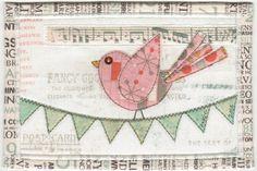 https://flic.kr/p/jWY1jc | Fancy Goods | Fabric postcard with my favorite happiest looking bird.