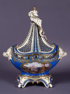 Sèvres Manufactory, shape attributed to Jean-Claude Duplessis père, French (1695-1774), made of soft-past porcelain, A pot-pourri vase