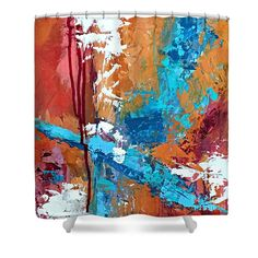 Abstract Shower Curtain featuring the painting Canyon Song by Mary Mirabal