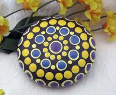 "Mandala Stone Hand Painted River Rock ~ Energy ~ Meditation ""TESS"" Blue ~ Yellow ~ Purple ~ Happy Energy ~ Dot Painting by WrenStones on Etsy"