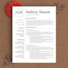 Teacher Resume Template Modern Resume Template For Word And Pages 1  3 Pages  Cover