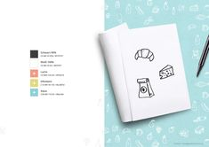 """Color scheme and hand drawn icons – part of branding project for the zero waste shop """"Schmeckerei"""". My Portfolio, Of Brand, Zero Waste, Hand Drawn, Color Schemes, Branding Design, How To Draw Hands, Icons, Shop"""