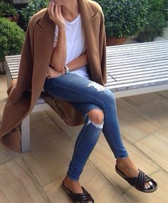 Camel Coat // Isabel Marant Slides // White Tee // Ripped Skinnys