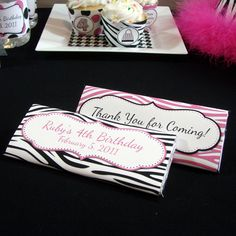 Pink Zebra Party Favor, Candy Bar Wrappers, Candy Bar Label, Pink and Black, Birthday Party -- Edit Zebra Party Favors, Pink Zebra Party, Candy Party Favors, Diva Birthday Parties, Fall Birthday, Birthday Ideas, Candy Bar Labels, Candy Bar Wrappers, Hershey Candy Bars