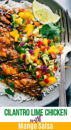 The best cilantro-lime chicken with a mango avocado salsa. This is the perfect … The best cilantro-lime chicken with a mango avocado salsa. This is the perfect healthy and delicious summer meal that everyone will love! Mango Avocado Salsa, Mango Salsa Chicken, Cilantro Lime Chicken, Pineapple Chicken, Chicken With Salsa Recipe, Cilantro Salsa, Chili Lime Chicken, Pineapple Salsa, Slow Cooking
