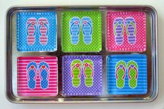 Flip Flops Refrigerator Magnets, Set of 6 Beach Pool Ocean Summer Theme Fridge Magnets in Storage Tin by DLRjewelry on Etsy https://www.etsy.com/listing/238272290/flip-flops-refrigerator-magnets-set-of-6