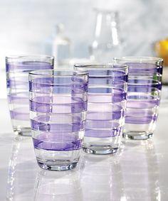 Purple 16-Oz. Glass - Set of Four #zulily #zulilyfinds I want them!