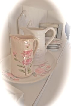 Romantic Home-LOVE this floral pitcher! wish i could find one like it.