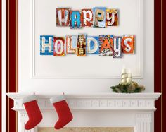 Happy Holidays custom letter art.  Christmas is right around the corner and it's time to start thinking about how you want to decorate your home this holiday season.  This sign is made from fine art photos of vintage Las Vegas neon signs.  Arranged side by side, they make for a colorful and eye catching one-of-a-kind work of art that is sure to be a centerpiece of admiration!