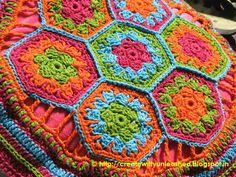 Crochet hexagon cushion cover. Laura yarn. Beautiful colors!