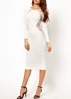 Shop White Long Sleeve Lace Backless Bodycon Dress online. Sheinside offers White Long Sleeve Lace Backless Bodycon Dress & more to fit your fashionable needs. Free Shipping Worldwide!