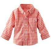 A classic check pattern is always in style. Pair this button-front shirt with twills for a handsome outfit.<br>