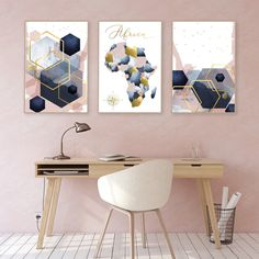 Pink Office Decor, Blue Office, Gold Office, Pink Home Decor, Home Office Decor, Copper Living Room, Navy Living Rooms, Living Room Art, Home And Living