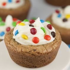 Chocolate Chip Cookie Cups with Almond Buttercream Frosting