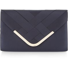 Accessorize Mina Satin Envelope Clutch Bag ($29) ❤ liked on Polyvore featuring bags, handbags, clutches, blue purse, blue envelope clutch, chain strap purse, envelope clutch bags and envelope clutch