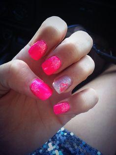 Homecoming nails  #pink #barbienails #glitter #nails #heart